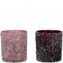 Glass windlight Leh, 2 colors, D7,5cm, H8cm, pink